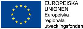 EU-flagga och texten Europeiska Unionen Europeiska regionala utvecklingsfonden