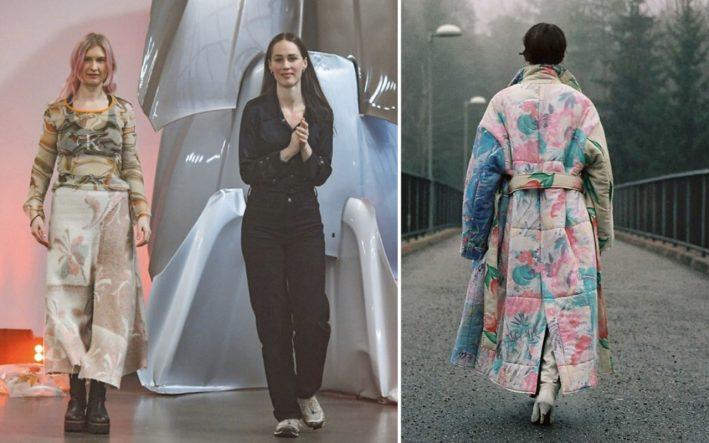 Två kvinnor på en scen. En kvinna går på en bro med en färgglad kappa med blommor på. Duon är nominerad till LVMH-priset. Samverkan med Science Park Borås..