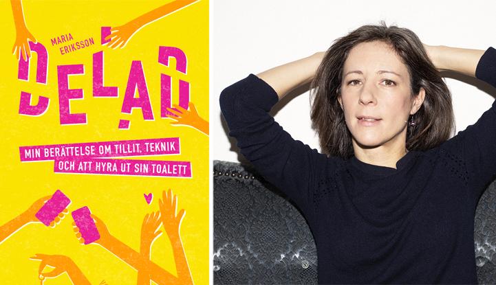 Bokomslag i gult och rosa samt proträttbild av författaren Maria Eriksson