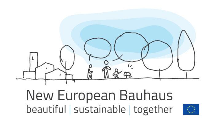 Logotype för New European Bauhaus med illustrerad stadskärna, natur och människor. Innehåller orden beautiful, sutainable och together samt EU-flaggan.